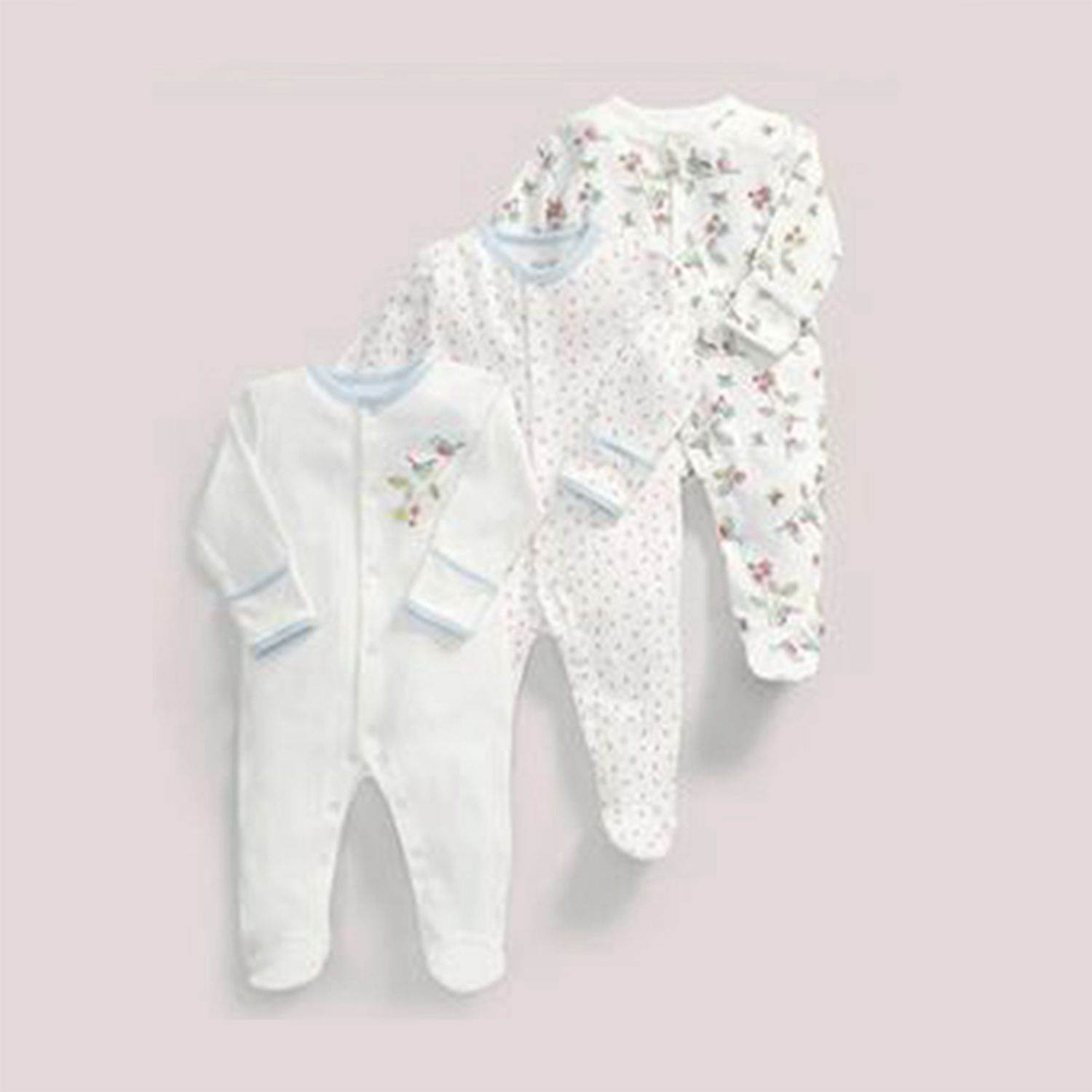 Baby Clothing Spring and autumn white color cotton long-sleeved baby onesies haber romper 3 piece set 50cm(White flower)