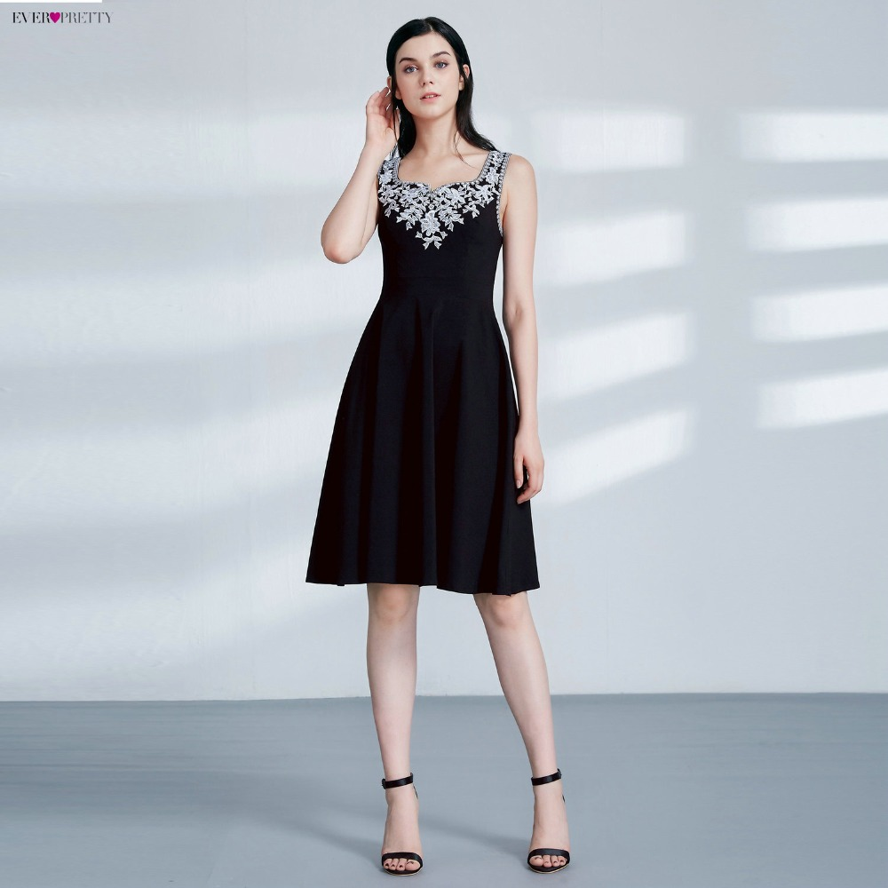Ever Pretty AS04056 Cut-out Elegant Black Coctial Dresses A Line Scoop  Neckline Sleeveless Embroidery fd811f0e4c9f