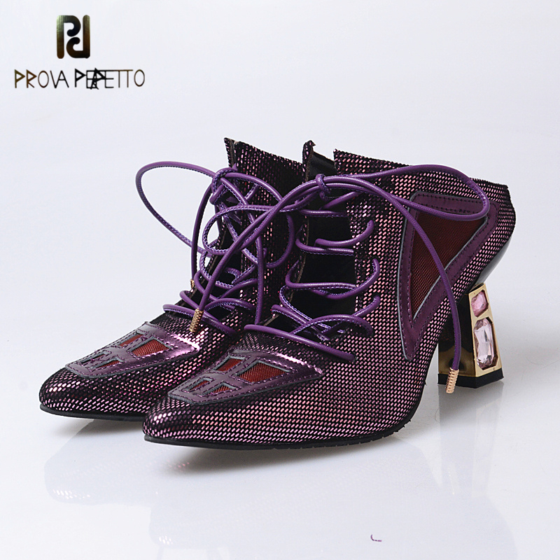 Prova perfetto Spring Pointed Toe Shoes Women High Heels Genuine Leather Slippers Lace Up Slipper Bling Sexy High Heels Shoe