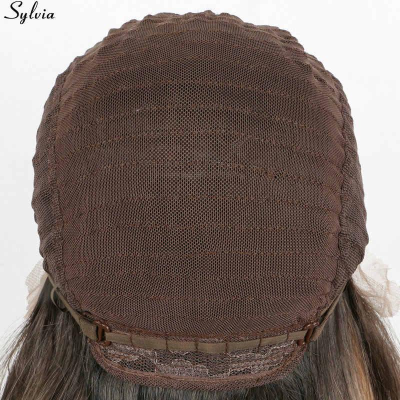 "Sylvia Kanekalon Perruque peruca Longa Reta Mulheres Perucas Raízes Escuras Ombre Laranja Pêssego 26 de Várias Cores Peruca Dianteira Do Laço Sintético"""