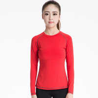 Women O-Neck Sports t-Shirts 2017 Autumn New Lady Quick Dry Flexible Fitness Running Long Sleeve Solid Tops Training t Shirt