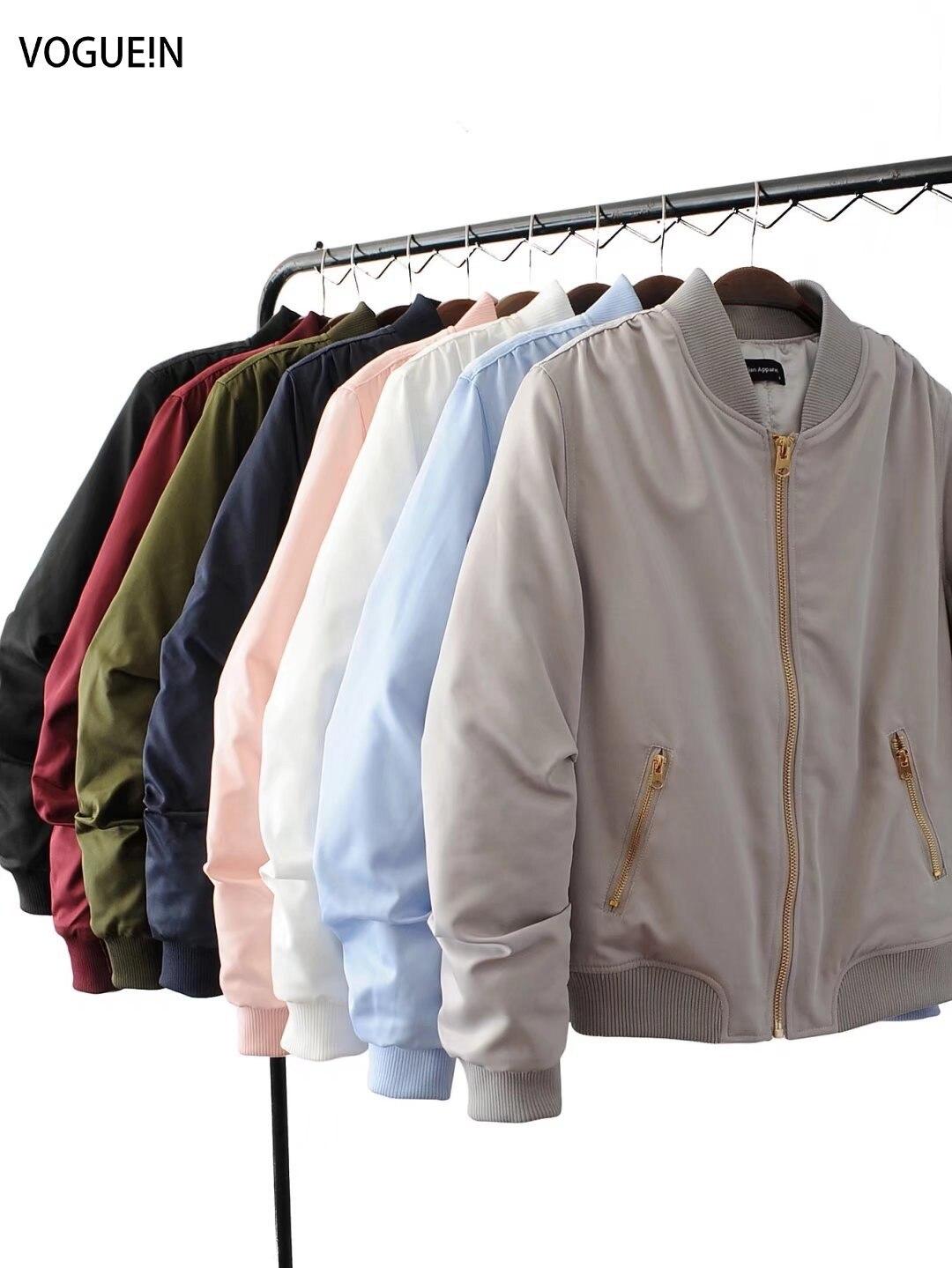 VOGUE!N New Womens Pockets Solid 8 Colors Golden Zip Up Satin Bomber Flight Jacket Coat