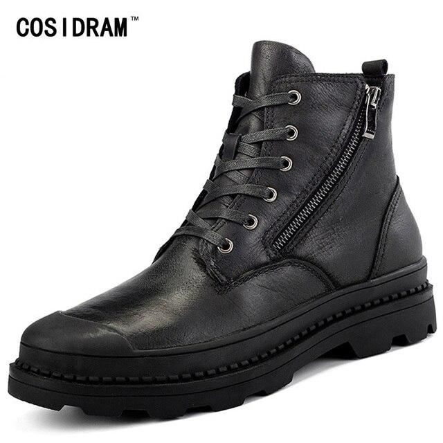€ 44.56 |Cosidram Cuero auténtico Botines para hombre Botas hombres felpa Botas invierno cálido Zapatos con Pieles de animales moda más tamaño 46 47
