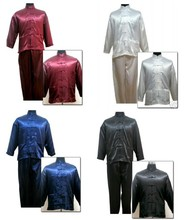 Chinese Men's Silk Satin Kung Fu Shirt Pants Suit Size S M L XL XXL Free Shipping M3012