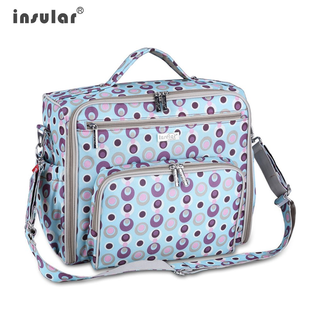 INSULAR New Arrival Baby Diaper Bag Multifunctional Large Waterproof Mother Bag Dot Printed Nylon Mommy Tote Bag new arrival shipping free baby diaper bag waterproof 600d nylon mommy bag changing bag women tote bag