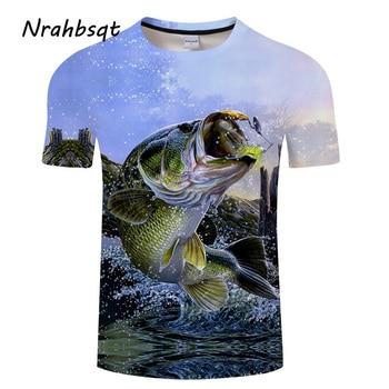 חולצה עם הדפס 3D של דגים
