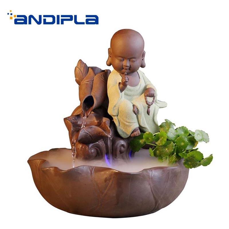 Créatif en céramique mignon moine Feng Shui fontaine d'eau hôtel poissons réservoirs décoration artisanat Figurines pour la décoration de la maison cadeaux de mariage