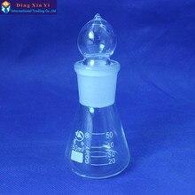 (4 pièces/lot) flacon conique de 50 ml, avec bouchon en verre rodé Boro 3.3 verre, flacon conique avec bouchon, haute qualité