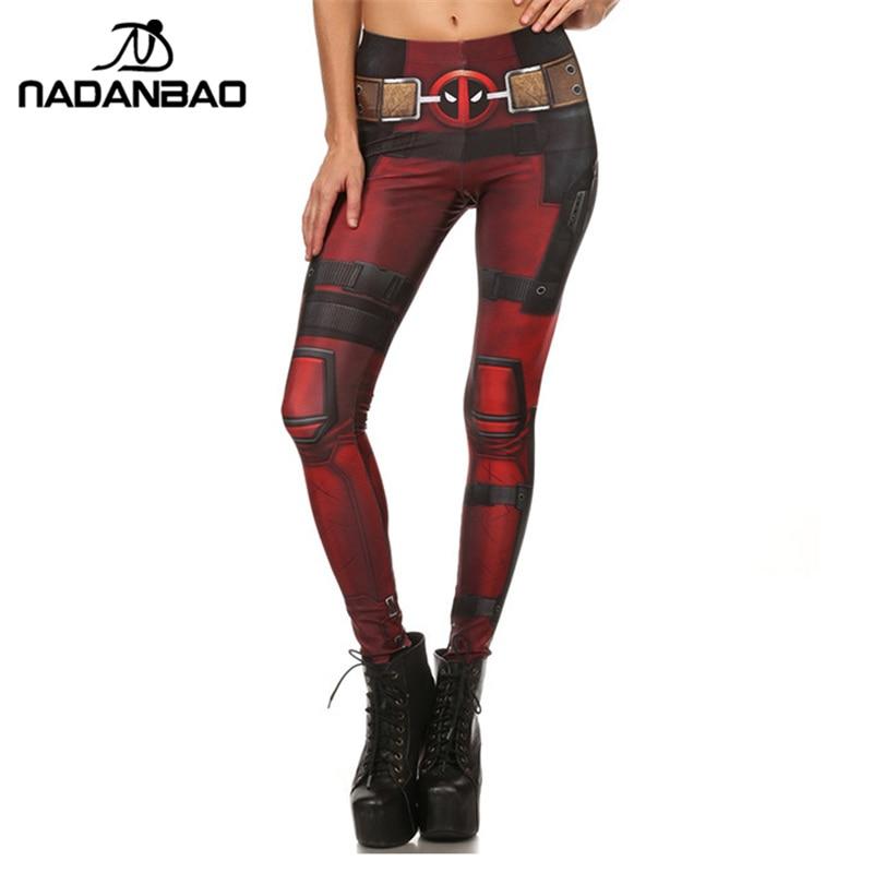 Nadanbao nueva moda mujer leggings Super Hero deadpool leggings impreso legging para mujer Pantalones