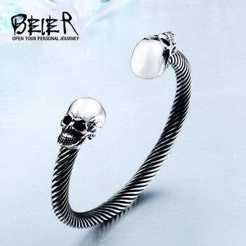 BEIER New Cool Punk Skull Bracelet For Man 316 Stainless Steel love Bangle Man's High Quality Jewelry BRG-012 1