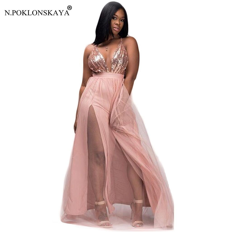 Women Sexy Summer Dress Floor Length V Neck Party Dresses 2018 Sequine Dress Backless Mesh Patchwork Robe Femme Vestido Longo