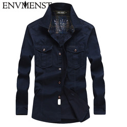 2017 New men denim shirt long sleeves camisa masculina dress shirt men brand fashion camisa denim hombre jeans shirt
