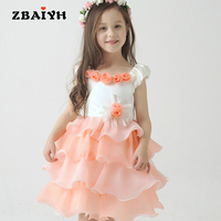 Children Summer Dress Girl High Quality Pink Lace Flower Little Girls Princess Wedding Party Dresses Fashion