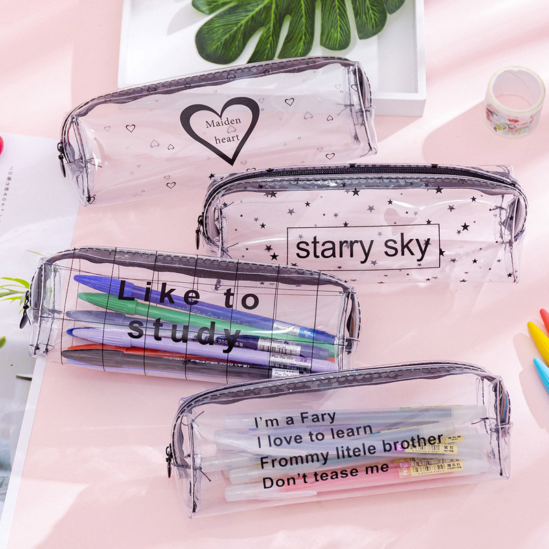 Simple Letter Waterproof Pen Case Cute Black White Pencil Box Transparent Pencil Bag For Kids Girls Gift School Office Supplies