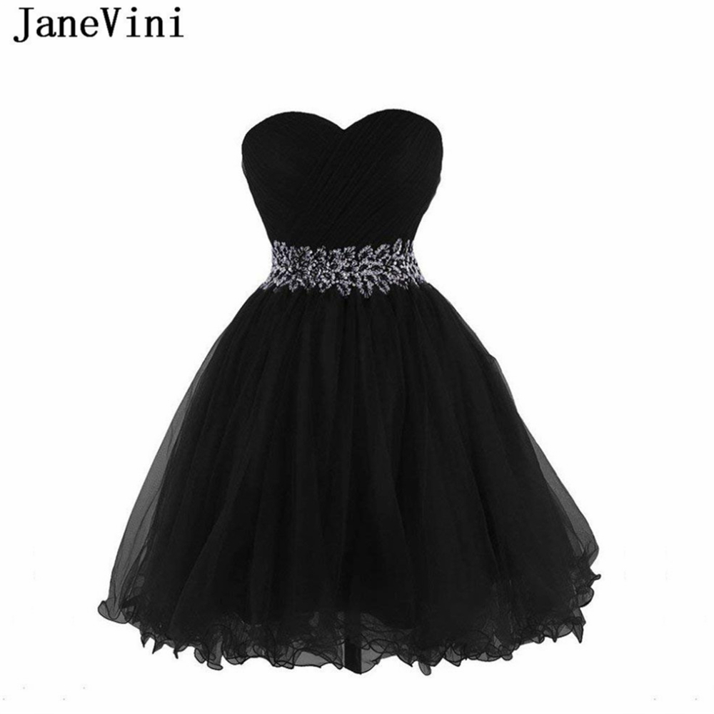 JaneVini Elegant Black Crystal Beaded Short   Bridesmaid     Dresses   A Line Sweetheart Lace-up Back Tulle Homecoming   Dress   Knee Length