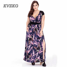 KVZKG 2017 Women Summer Elegant Print Beach Dress Sexy Butterfly Split Bohemian Maxi Long Dresses Vestidos Plus Size 6XL