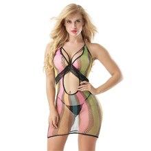 Seven colors stripe transparent Net clothing sexy lingerie underwear lenceria erotic porno costumes babydoll langerie