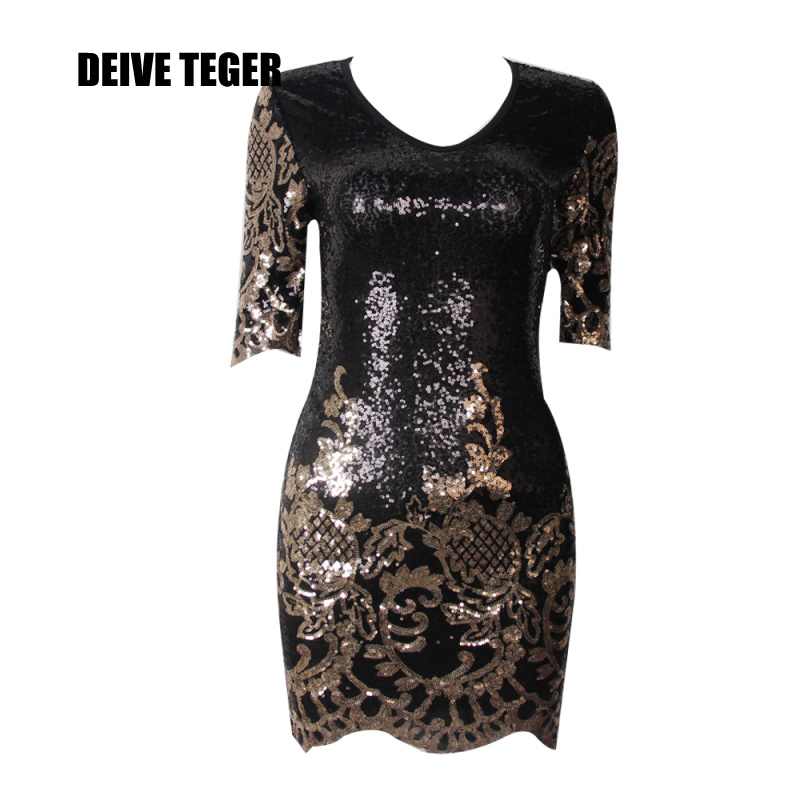 DEIVE TEGER  V-Neck  Gold Flower Half Sleeve Sheath  Women Dress  BY126