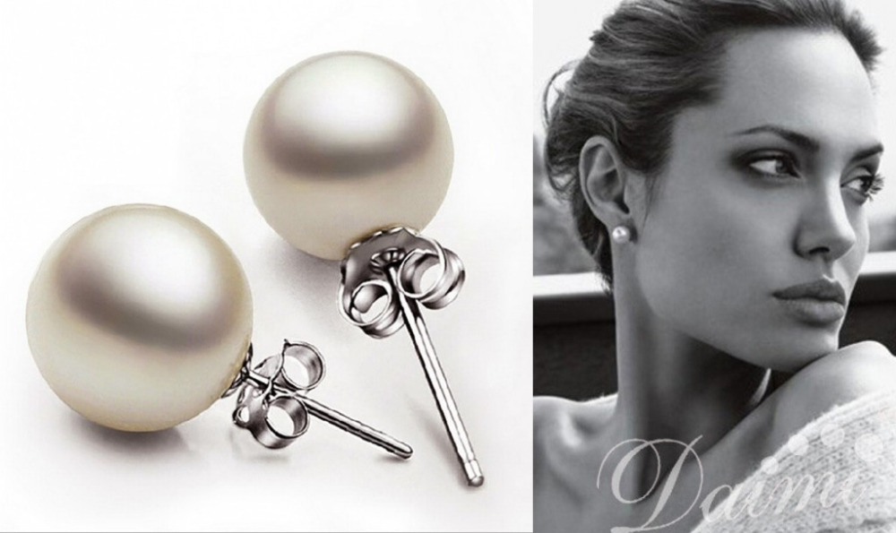 freshwater pearl earrings white stud