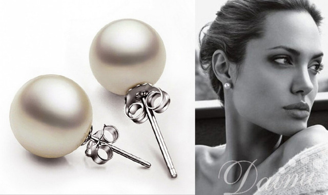 6mm 8mm 10mm Round Shaper White South Sea Pearl Stud Earring 925 Silver Beautiful Style Women S