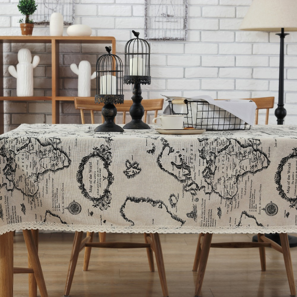 Aliexpress.com : Buy World Map Tablecloth European Functional Table Cloth  For Picnic Party Linen Cotton Tablecloths Rectangular Nappe Rectangulaire  From ...