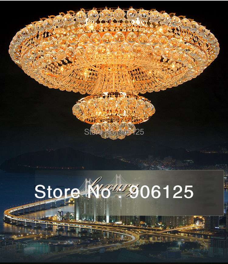 Empire Crystal Flush Mount Ceiling Light Fixture Gold Crystal Ceiling Light Lighting Width 100cm Guaranteed 100%+Free shipping!