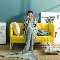 Yarn Knitted Shark And Mermaid Tail Blanket Super Soft Sleeping Bed Handmade Crochet Anti Pilling Portable