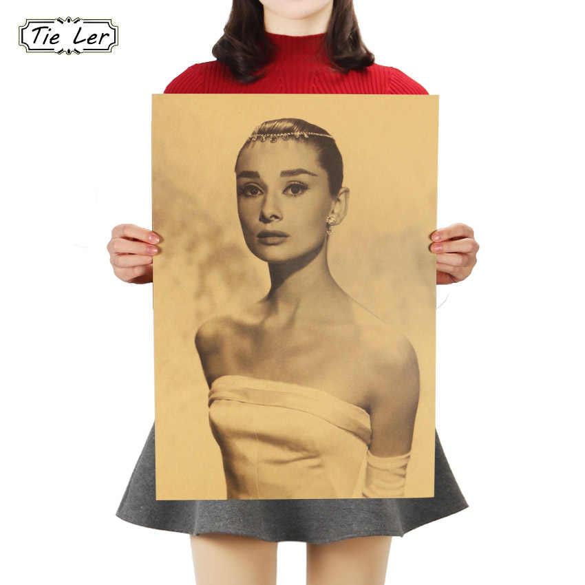 TIE LER Audrey Hepburn Retro Decoration Kraft Paper Posters Bedroom Kitchen Adornment Vintage Poster Wall Stickers