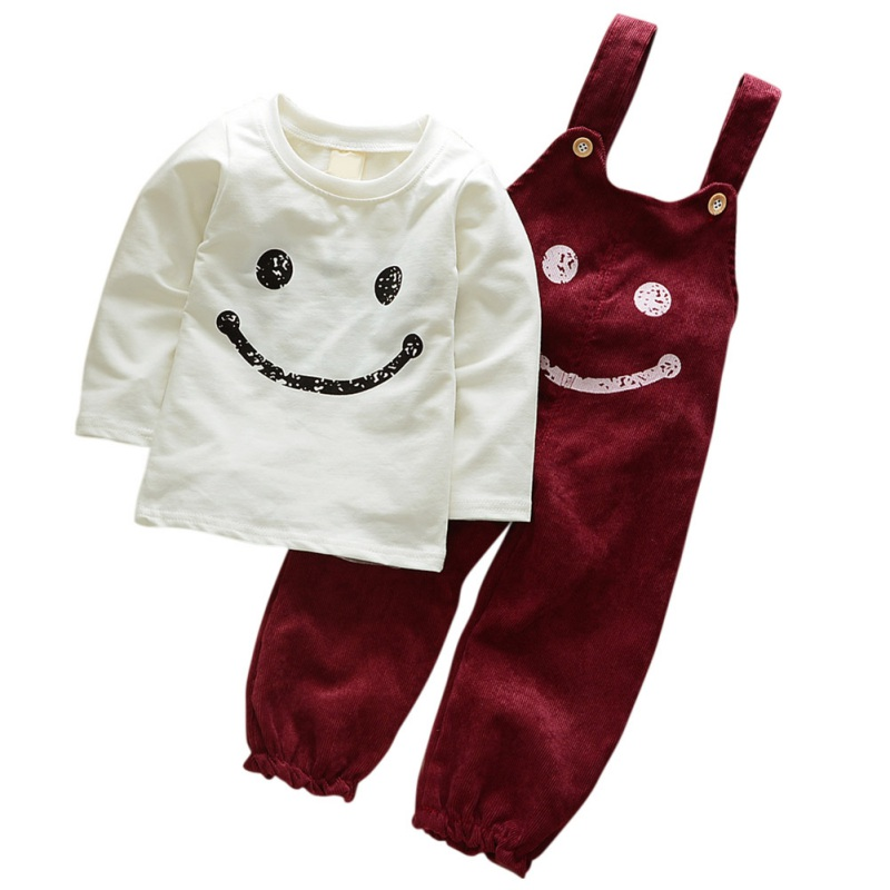 Spring Autumn Baby Boy Clothes Sets Long Sleeves T-Shirt + Pants Cute Smile Pattern Children Clothing 2 Pieces Set J1