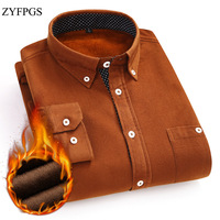 ZYFPGS New Winter Corduroy Shirt Men Long Sleeve Black Shirt Solid Color Polyester Warm Cold Protection Shirts Size 4XL 5XL 1127
