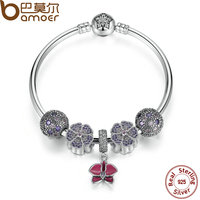 BAMOER Authentic 100 925 Sterling Silver Bangles Bracelet With Radiant Orchid Primrose Cosmic Stars Clip Charm