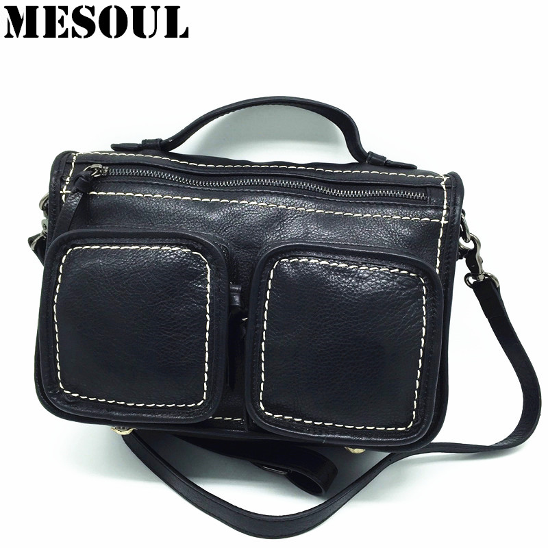 Women Messenger Bag Genuine Leather Cowhide Shoulder Bags Ladies Tote Black Crossbody High Quality Multi-pocket Designer Handbag