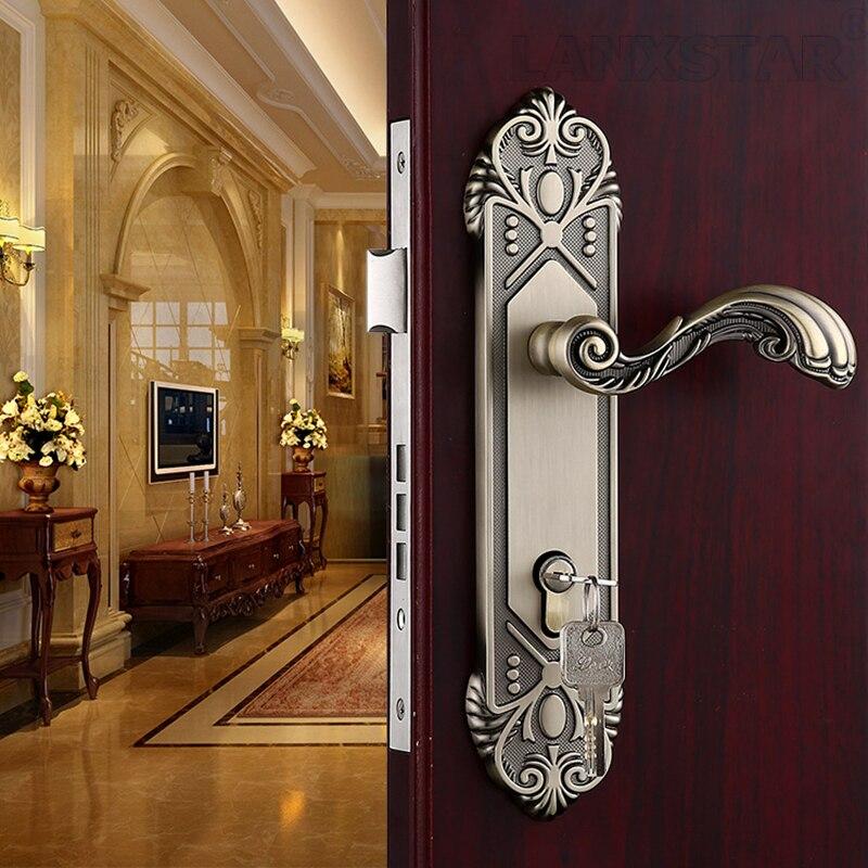 ФОТО Wholesale Large Size 50 Lockbody Hard Strength Zinc Alloy Simple European Style Bedroom Door Lock Handle Locks