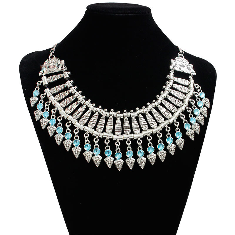 F&u Women Fashion Silver Color Necklace Jewelry Enamel Ethnic Crystal Bib Chain Collar Necklaces & Pendants Collier Bijoux Rich And Magnificent