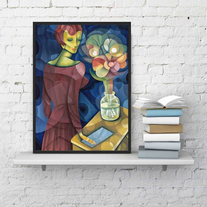 Abstract Woman With Flower Vase Oil Painting Canvas Prints , Cubism Canvas Painting Gallery Picture Modern Wall Decor