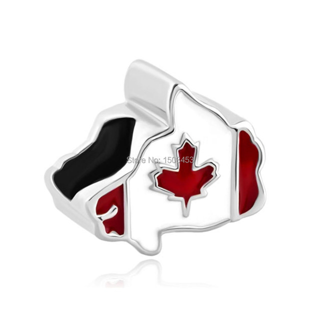 Maple Leaf Patriotic Proud To Be Canada Flag Of Canada Map Bead Charm Bracelet
