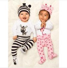 2016 Caliente Conjuntos de Bebé Del Mameluco (Romper + Hat + Pants) de Algodón Recién Nacidos de los Bebés Ropa Traje Roupas de Bebe mono Del Bebé Ropa