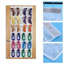 24 Pockets Multifunction Over Door Shoes Hanging Bag Box Toy Storage Holder with Hooks Home & Organizer