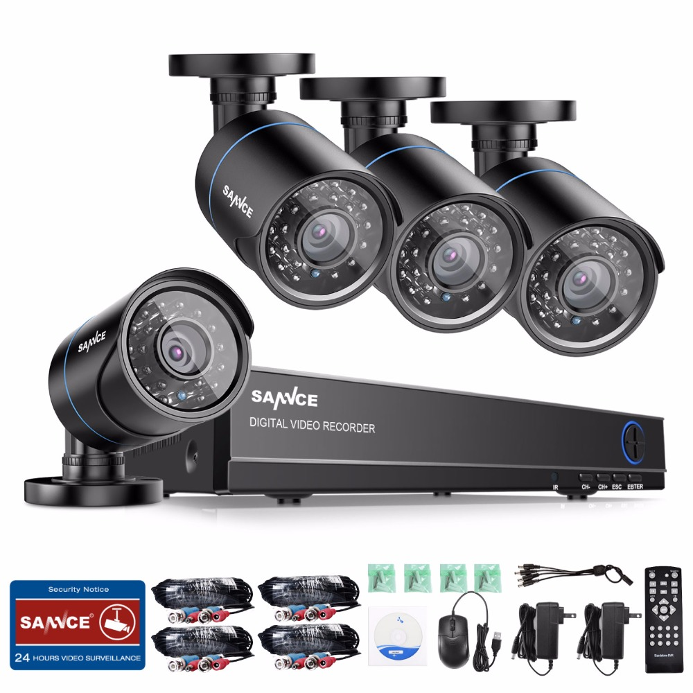 SANNCE 4CH CCTV System 1080P HDMI Output Video Surveillance DVR Kit with 4PCS 1280TVL 720P Home CCTV Security Camera System sannce hd 8ch cctv system 1080p hdmi dvr ahd 720p cctv security camera 4pcs 1280tvl ir outdoor camera video surveillance kit