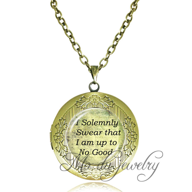 Vintage quote necklace inspiration words locket pendant I Solemnly Swear That I Am Up To No Good antique bronze chain jewelry