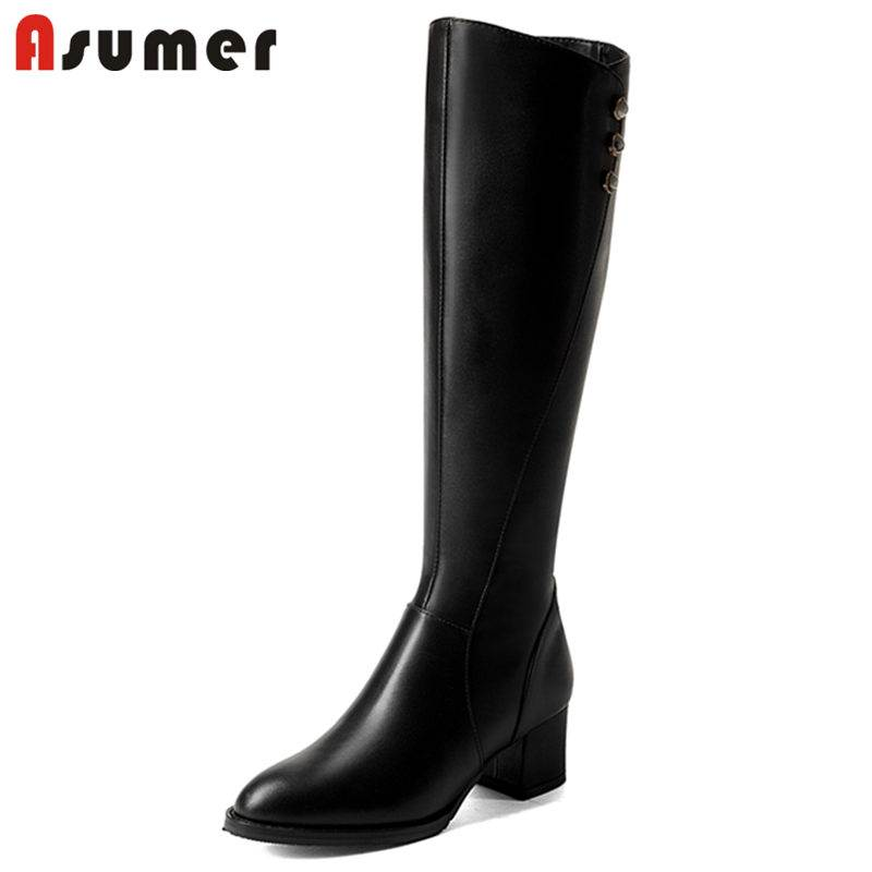 ASUMER BIG SIZE 32-43 2018 HOT fashion thick high heel knee high boots for women zip genuine leather boots round toe female boot warm velvet martin boot female leather boots high heel genuine leather side zip ankle boots women patchwork round toe short boot