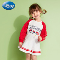 Disney Authentic 2019 Baby Girl Dress Minnie Princess Long Sleeve White Pink Dresses Children Spring Cute Clothing Gifts
