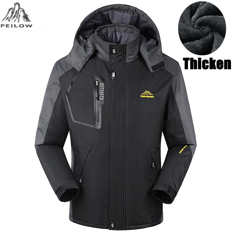 704157c6384 PEILOW Thicken warm Winter jacket women and men`s Waterproof Windproof  Hooded Coats men fleece