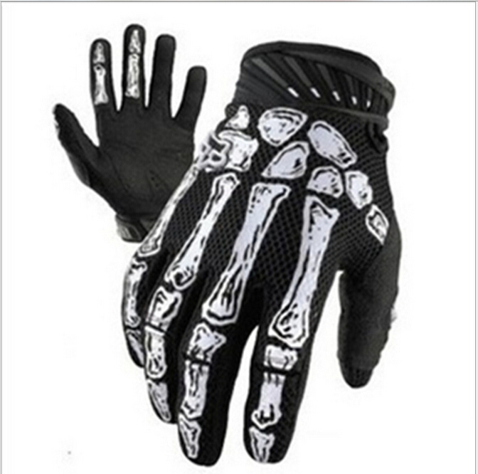 Brand Cycling Bicycle Skull Glove Full Finger black Motorcyle Goth Bone Racing Sport Gloves Skeleton m-xl - official seller of WOLFBIKE store