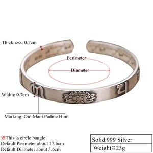 ZABRA, 999 Твердое Серебро, буддизм, лотос, открытые браслеты-манжеты для женщин, Ретро стиль, шесть слов, серебряный браслет, Женские Ювелирные изделия