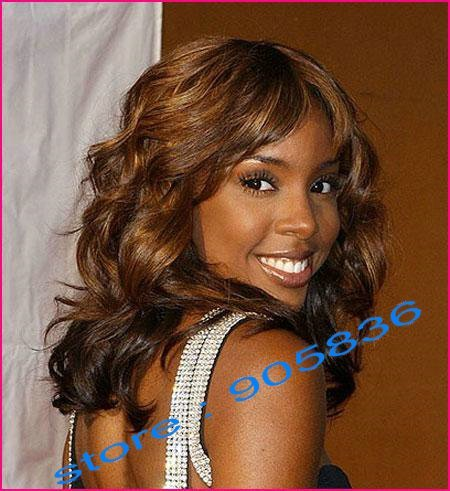 Kelly rowland medium brown loose curly  indian remy human hair lace front wig