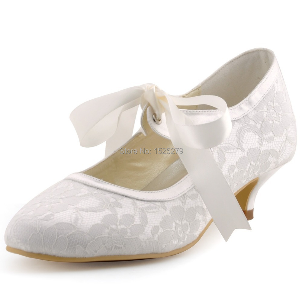 Lady A3039 Ivory Women Mary Jane Bridal Evening Party Pumps Closed Toe  Ribbons Low Heels 1.5u0027u0027 Satin Lace Wedding Shoes In Womenu0027s Pumps From Shoes  On ...
