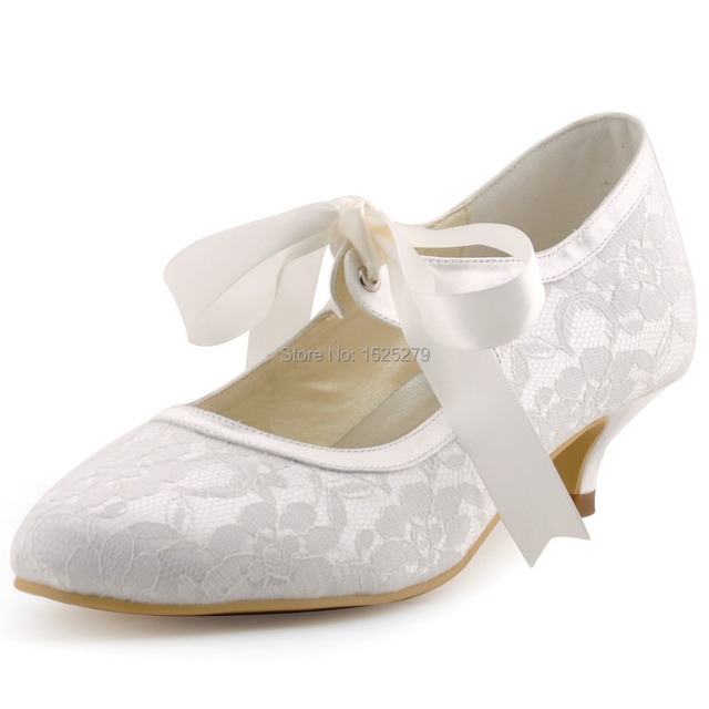 Lady A3039 Ivory Women Mary-jane Bridal Evening Party Pumps Closed Toe  Ribbons Low Heels 1.5   Satin Lace Wedding Shoes 12e81dce2cb5