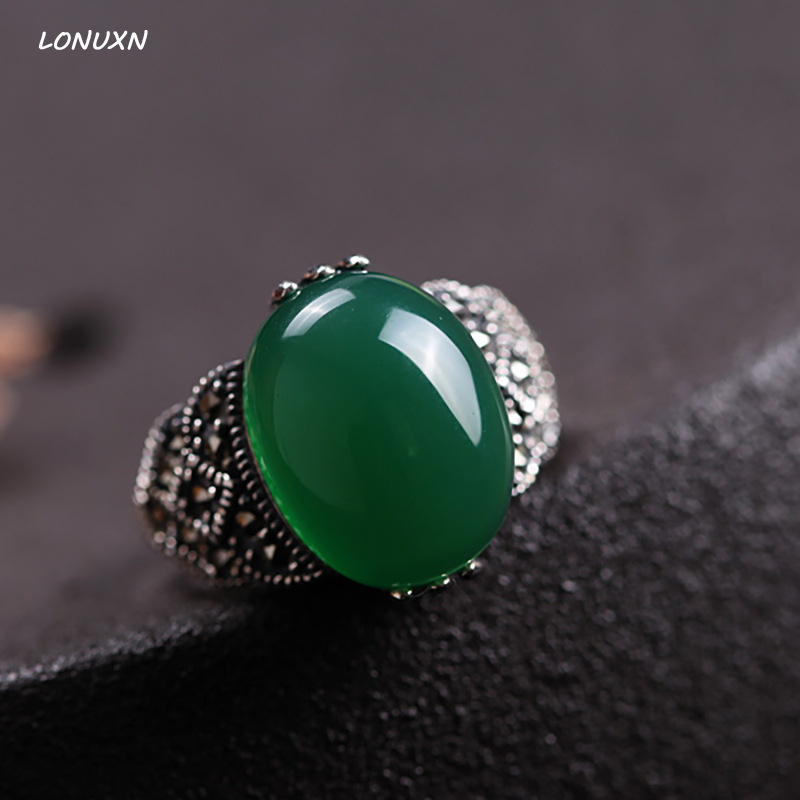 High quality Natural Semi precious Stones 925 sterling silver retro girls cute green Chalcedony rings female jewelry lovers gift 925 sterling silver jewelry natural semi precious stones retro yellow chalcedony earring classical retro girlfriend gift