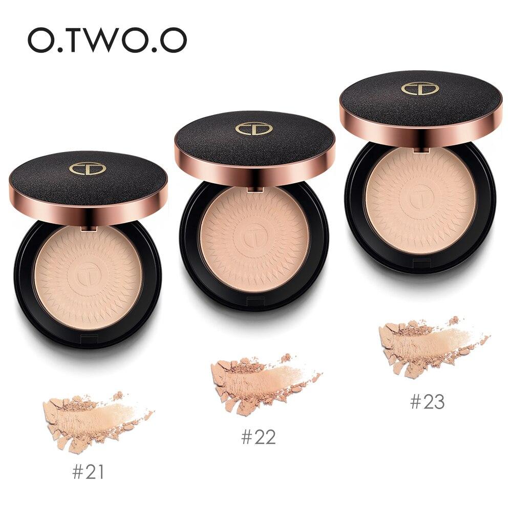 O. DOIS. O Fundações de Maquiagem Em Pó Pressionado Pó Pó Compacto maquiagem Hidratante de Longa Duração Branqueamento Corretivo Suave